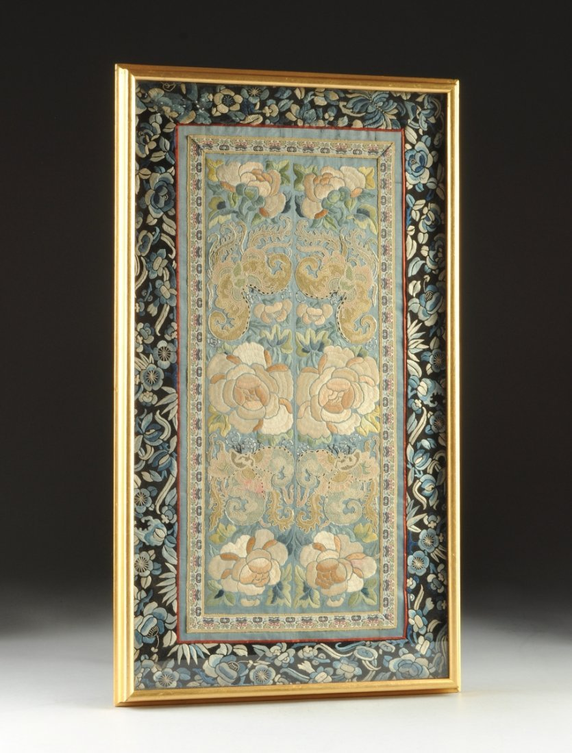 A CHINESE POLYCHROME SILK NEEDLEWORK PANEL, POSSIBLY