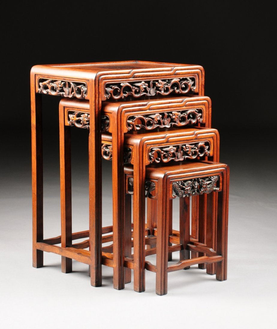 TWO SETS OF VINTAGE CHINESE CARVED HARDWOOD NESTING