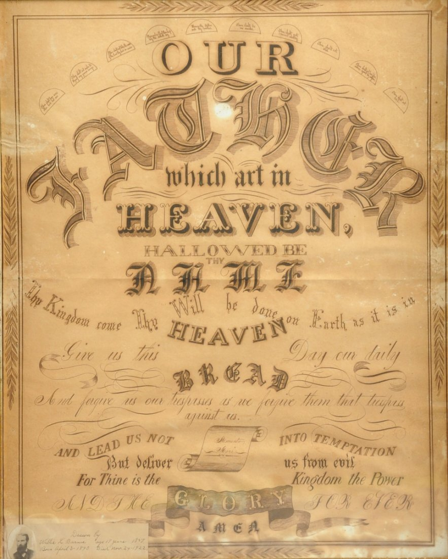 """A FRAMED YOUNG MAN'S PENMANSHIP DRAWING OF THE """"OUR"""