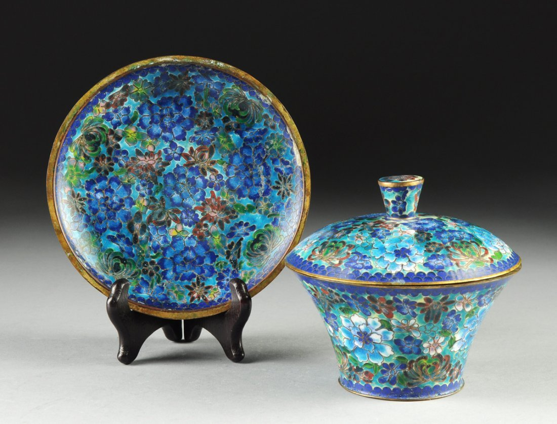 A CHINESE BLUE GROUND CLOISONNÉ COVERED DISH AND