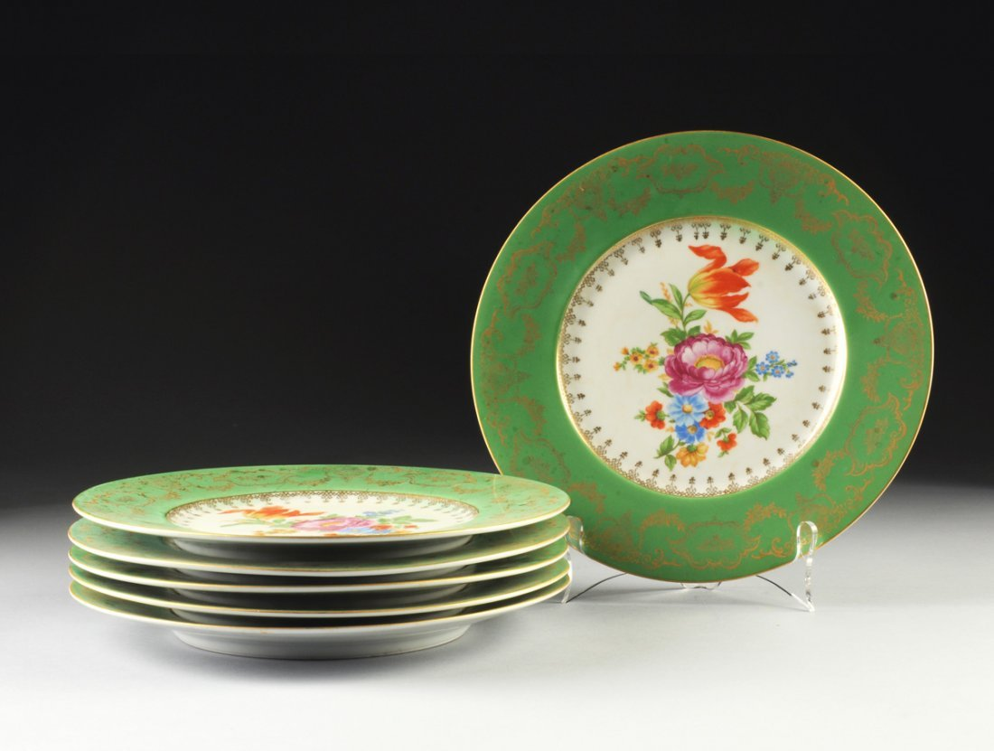 A SET OF SIX BOHEMIAN GREEN GROUND AND FLORAL DECORATED