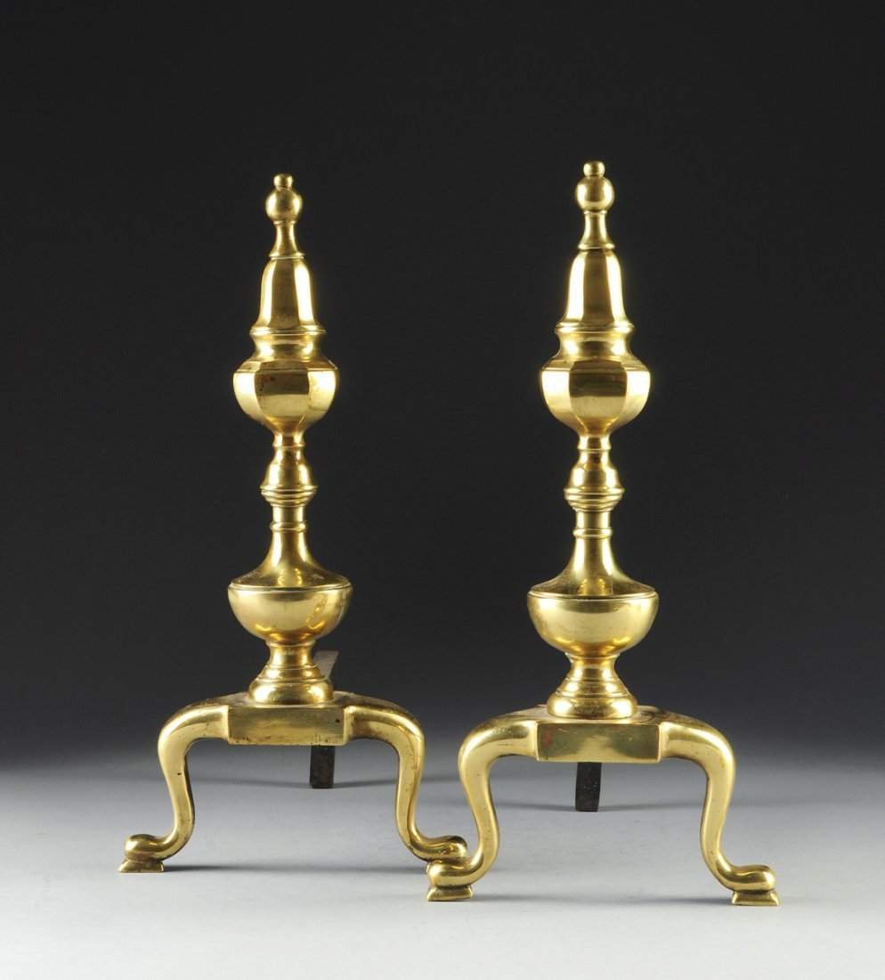 A PAIR OF BRASS ANDIRONS, EARLY 20TH CENTURY,