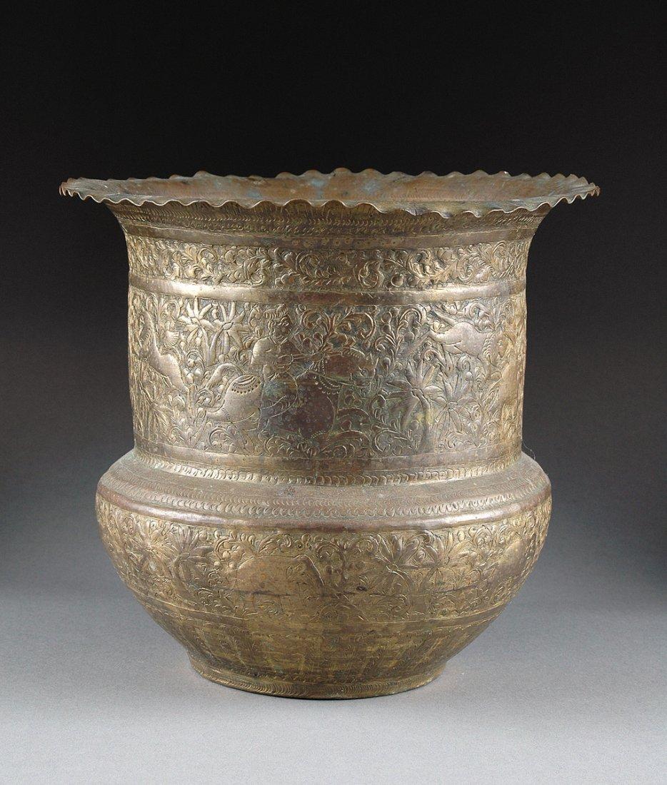 A PERSIAN BRASS JARDINIÈRE, 20TH CENTURY,