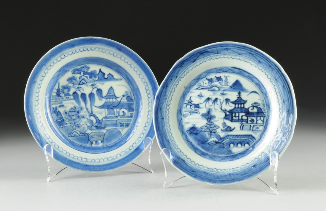 TWO CANTON BLUE AND WHITE PLATES, 18TH CENTURY,