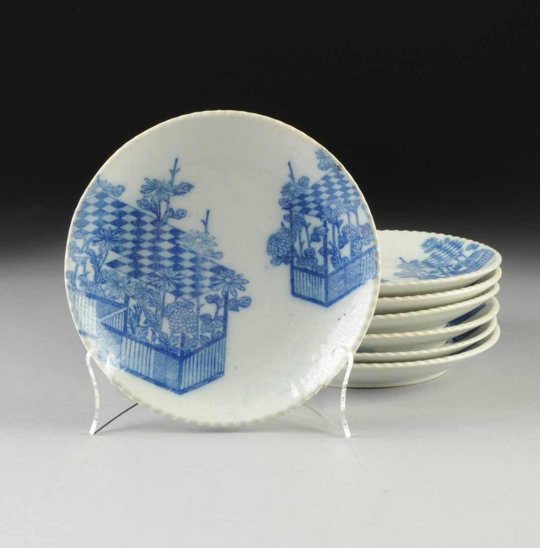 SEVEN JAPANESE BLUE AND WHITE  SHIRO-IGE PLATES, 20TH