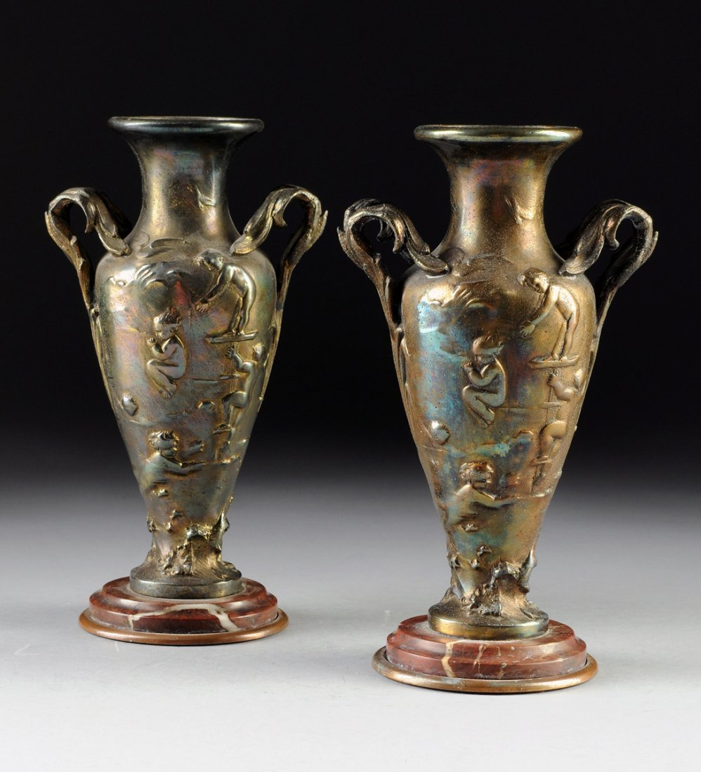 A PAIR OF ART NOUVEAU GILT SPELTER VASES, 1893-1914,