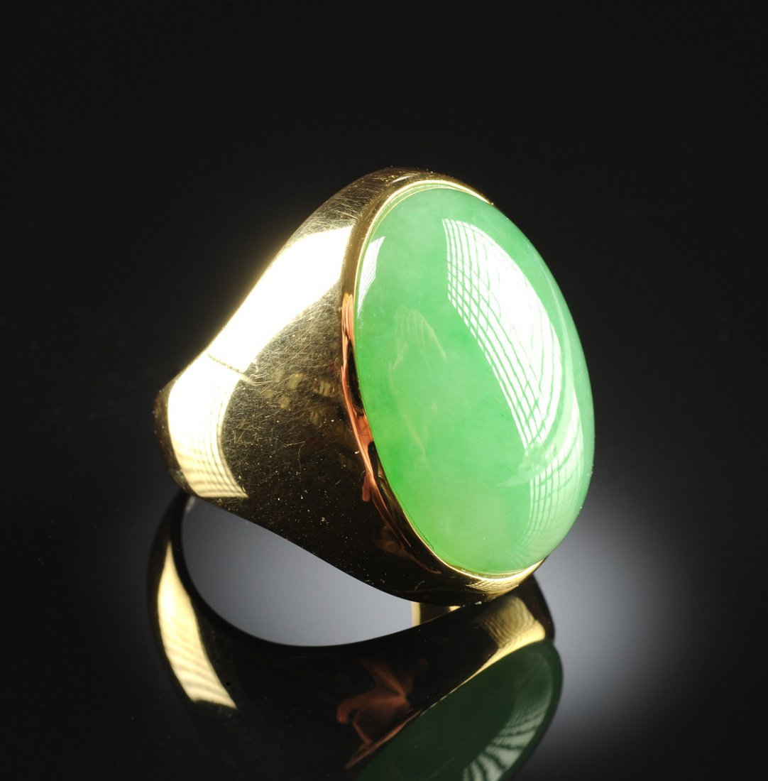 """AN 18K YELLOW GOLD AND CHINESE """"A"""" JADEITE JADE GENT'S"""