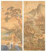 TWO FRAMED CHINESE POLYCHROME WATERCOLOR PAINTED