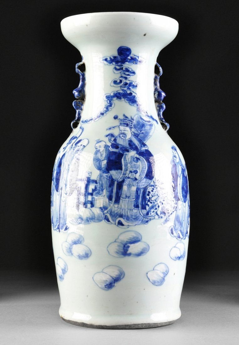 A LARGE VINTAGE CHINESE BLUE ENAMELED CELADON GROUND