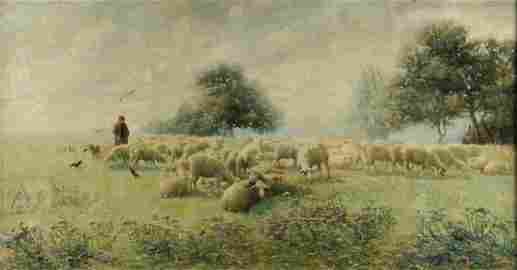 "ANTON MAUVE (Dutch 1838-1888) A PAINTING, ""Sheep"