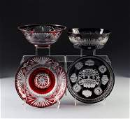A GROUP OF FOUR POLISH RUBY CUT-TO-CLEAR GLASS SERVING