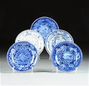 A GROUP OF FIVE ENGLISH CERAMIC PLATES WITH BLUE AND