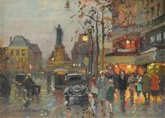 """EDOUARD CORTES (French 1882-1969) A PAINTING, """"Place"""