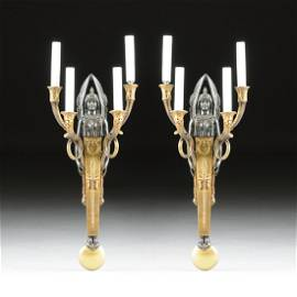 A PAIR OF EMPIRE STYLE GILT AND PATINATED BRONZE