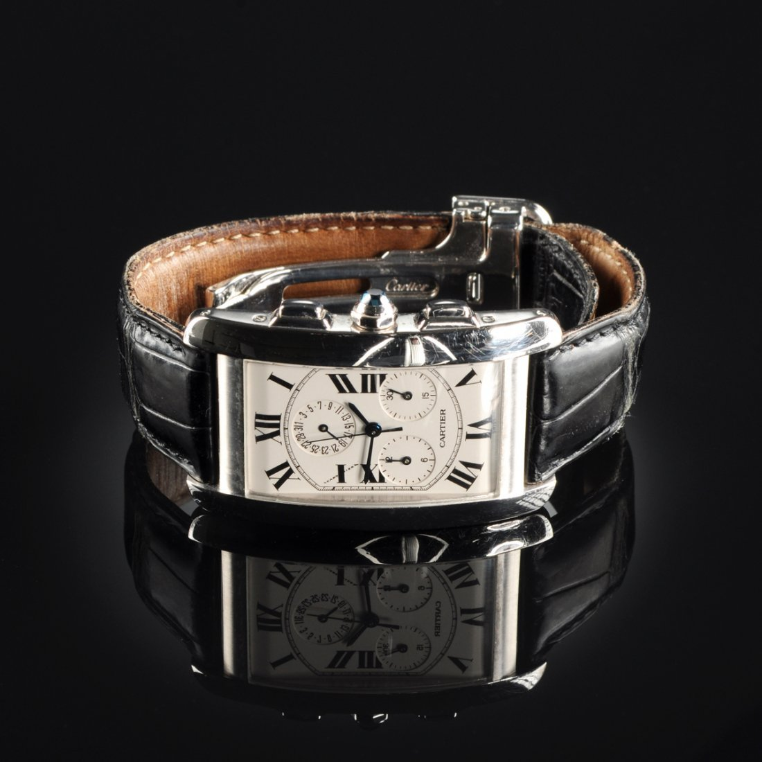 AN 18K CARTIER TANK AMERICAINE GENT'S WATCH,