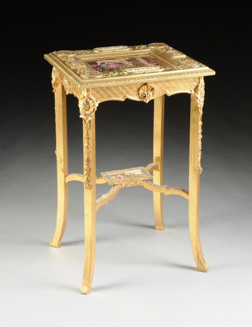 A CONTINENTAL KPM PORCELAIN MOUNTED GILTWOOD TABLE,