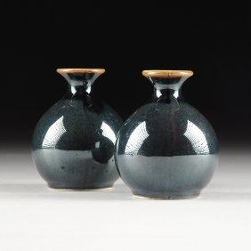 A Pair Of Diminutive Chinese Iridescent Dark Blue