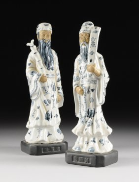 A Pair Of Chinese Blue And White Porcelain Figures Of