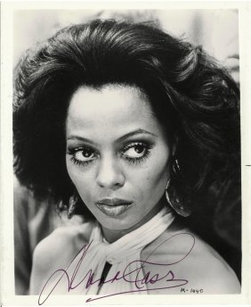 """Two Diana Ross Autographed 8"""" X 10"""" Black And White"""