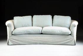 A Modern Pale Blue Velvet Upholstered Two Seat Sofa,