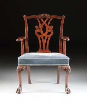 A Chippendale Style Carved Mahogany And Needlework