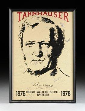 A Cast Signed Richard Wagner Bayreuth Festival Poster