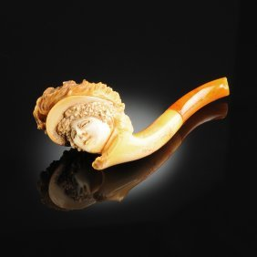 A Continental Carved Meerschaum Pipe, Cased, Possibly