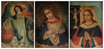 """A GROUP OF THREE RETABLOS, """"The Virgin Mary, Queen of"""