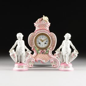 A Three Piece Rococo Revival Pink Ground Ceramic