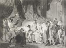 A GROUP OF FIVE FRAMED LARGE FORMAT STIPPLE ENGRAVED