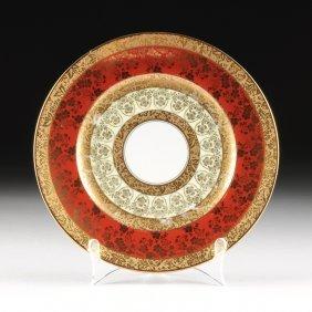 A Set Of Seven Crimson Gilt Hutschenreuther Royal