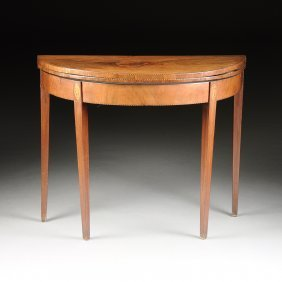A George Iii Mahogany, Satinwood, And Marquetry
