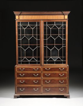 A George Iii Satinwood Inlaid Mahogany Cabinet Chest Of