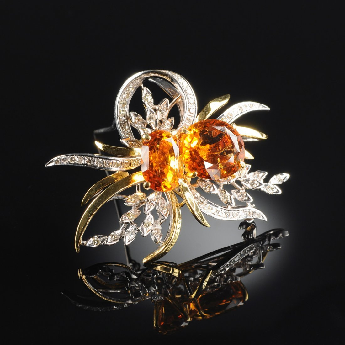 A 14K YELLOW GOLD, WHITE GOLD, AND CITRINE QUARTZ AND