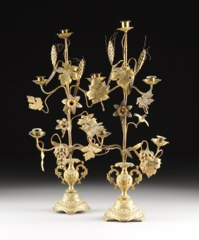 A Pair Of Gilt Metal Five-light Candelabra, Possibly