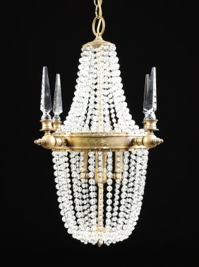 A Neoclassical Style Gilt Bronze And Cut Crystal Glass