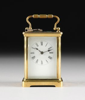 An Antique French Polished Brass Carriage Clock, By R &