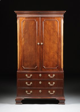 A George Iii Style Bow Front Mahogany Cabinet, By Baker