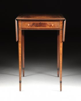A Federal Style Flame Mahogany And Satinwood Inlaid