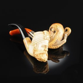 Two Vintage Carved Meerschaum Pipes, Early 20th