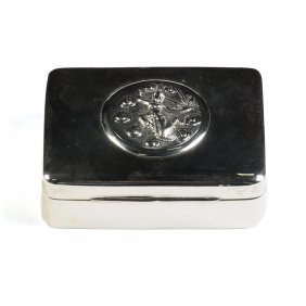 A Thai Nakon Sterling Silver Box With Hinged Lid And