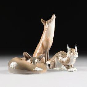 A Group Of Three Royal Copenhagen Porcelain Animal Figu