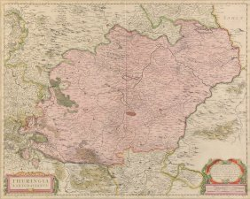 Hendrick Hondius (dutch 1597-1651) A Hand Colored