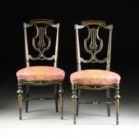 A Pair Of Victorian Parcel Gilt And Ebonized Wood Side