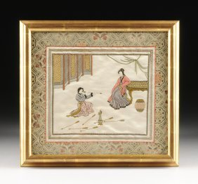 A Framed Chinese Pictorial Embroidered Panel On Satin,