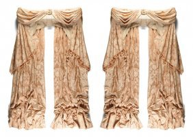 A Pair Of Elegant Custom Salmon Pink Damask Upholstered