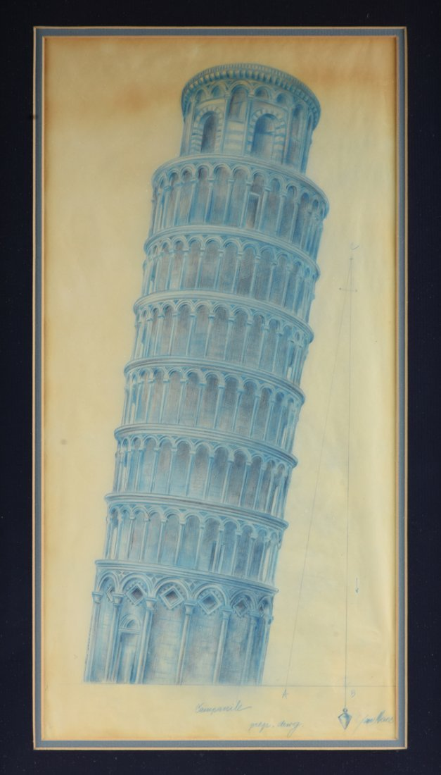 ARCHITECTURAL RENDERING OF TOWER OF PISA, ITALY, EARLY