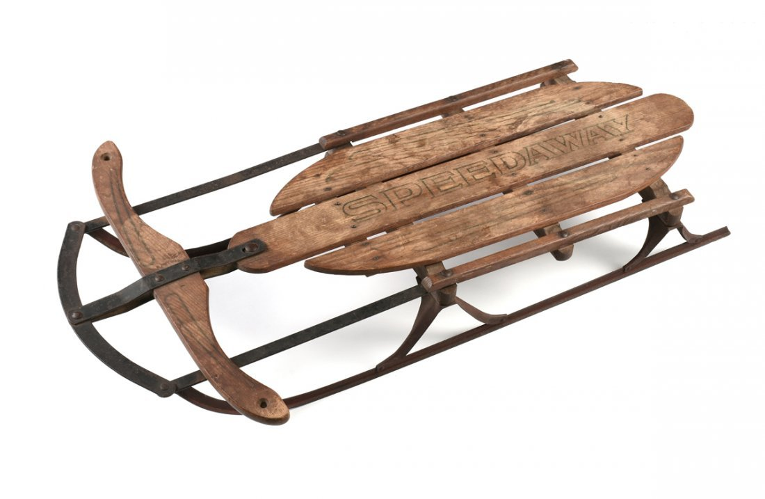 "A VINTAGE ""SPEEDWAY"" CHILD'S SNOW SLED, EARLY 20TH"