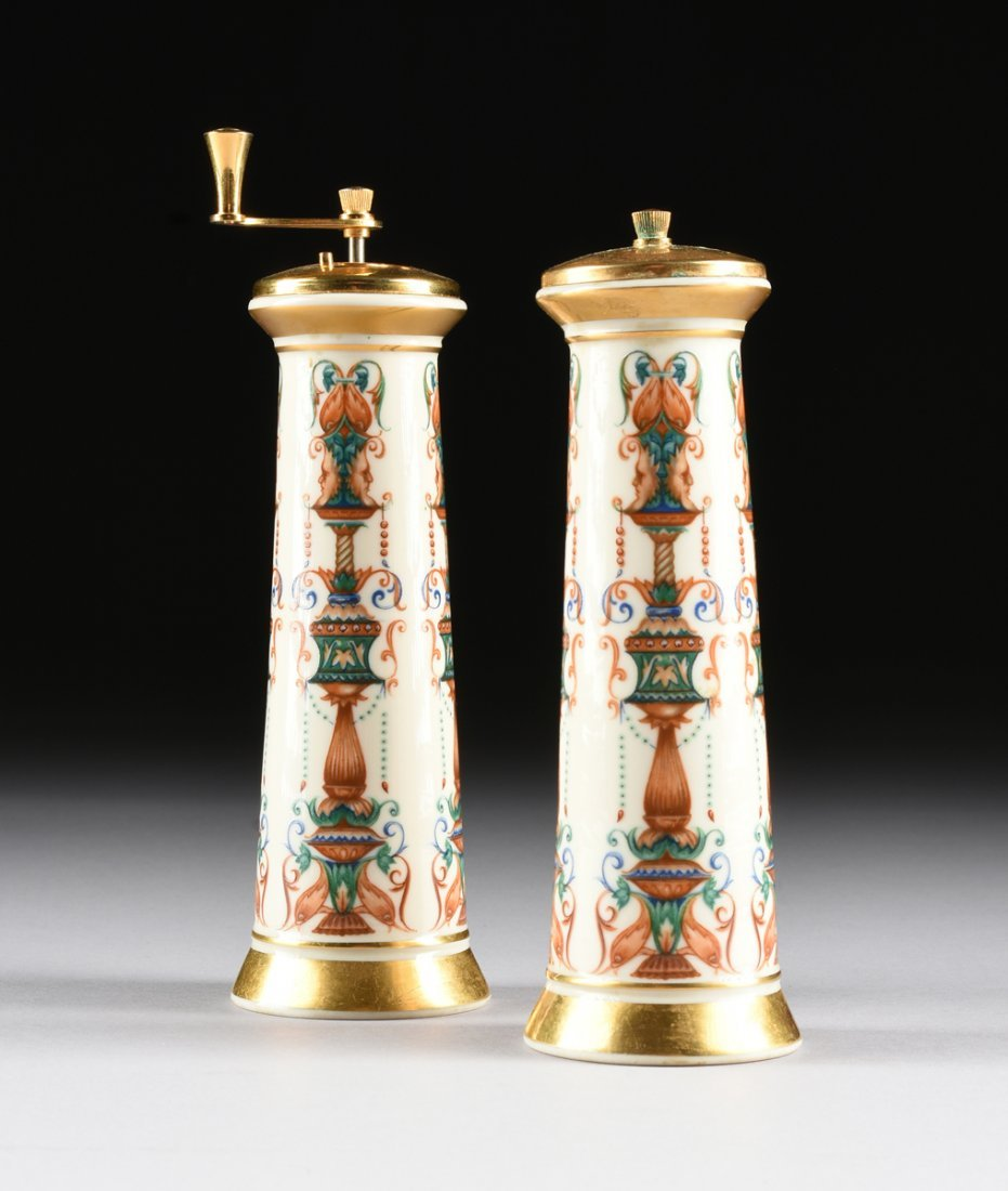 A PAIR OF LENOX PARCEL GILT AND POLYCHROME ENAMELED