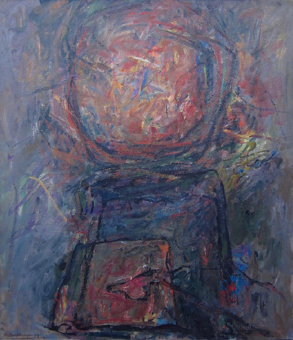 Hans Burkhardt, large abstract oil painting
